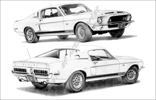 1968 shelby mustang drawing sketch coloring page